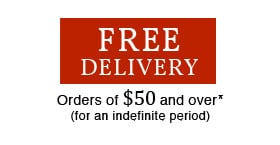 Free delivery - orders of $75 and over